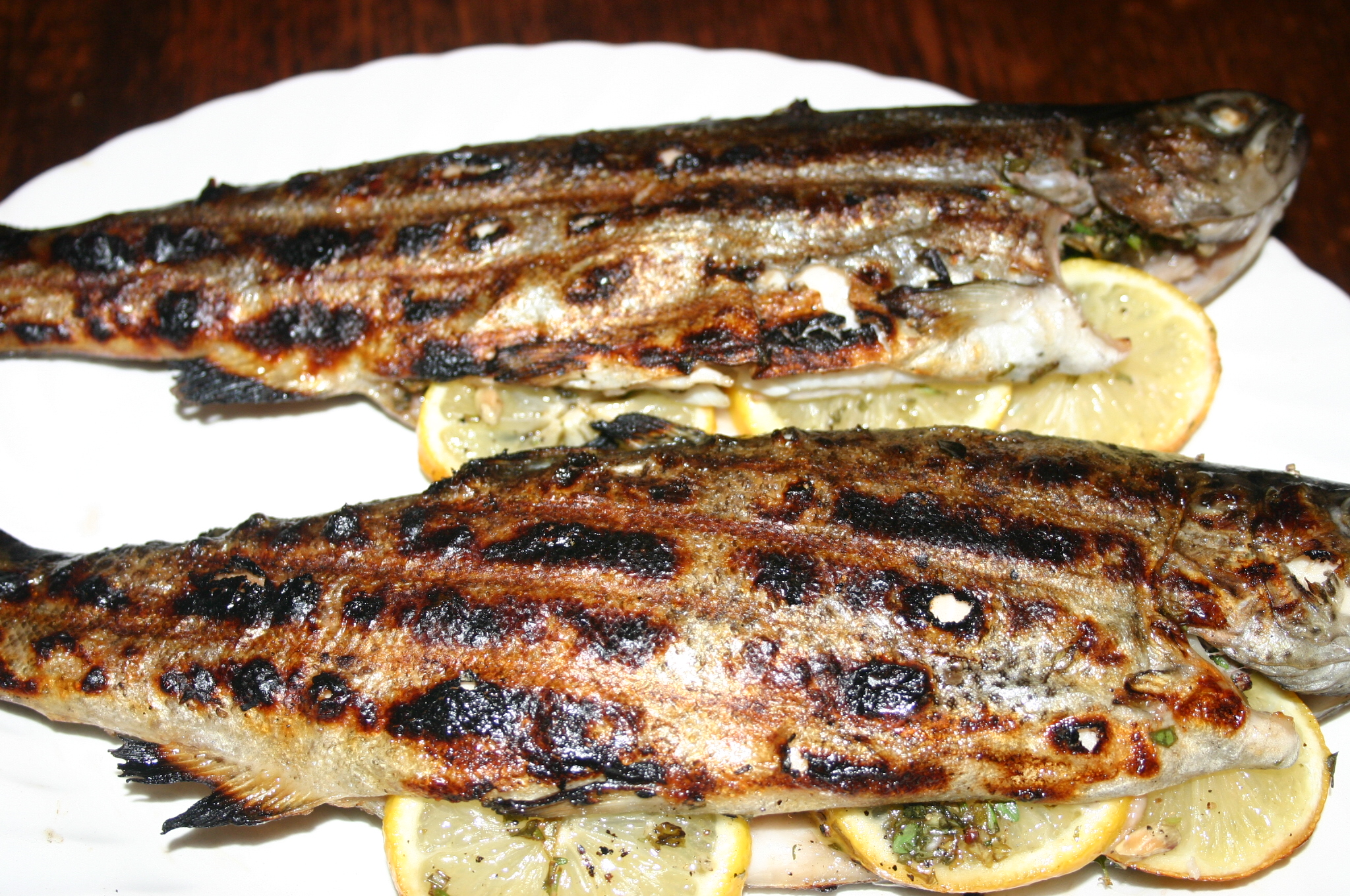 Grilled Whole Trout Trout grilled and resting