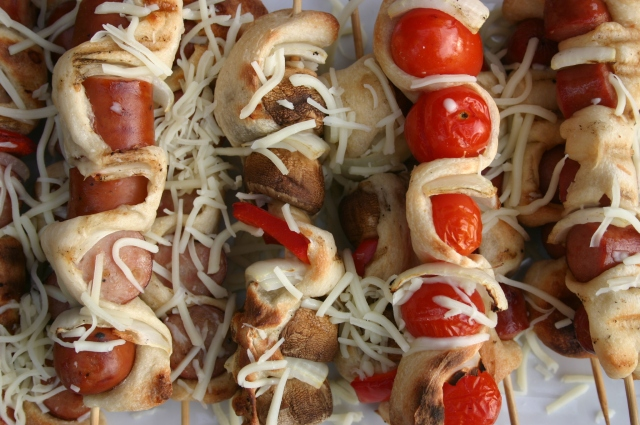 Cheese covered skewers