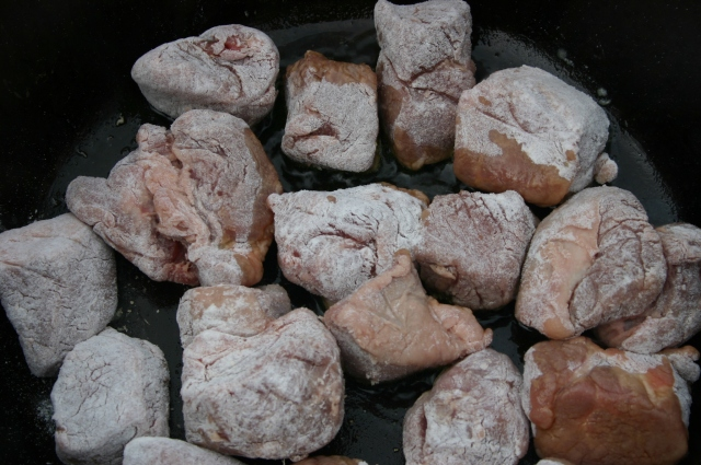 flour coated lamb chunks