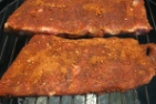 Rubbed Ribs On The Smoker