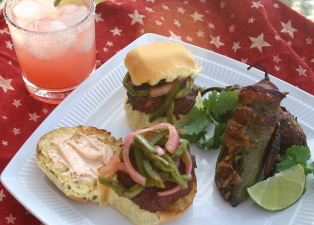 Chorizo Sliders Topped with Pickled Cactus, Jalapeño and Red Onion Slaw, along with Bacon Wrapped, Pork and Rice Stuffed Jalapeño, Washed Down With a Salty Chihuahua.